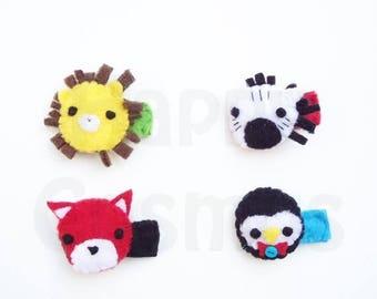 ON SALE - Cute Animal Hair Clip - Hair Accessories, Hairclip for Women, Hairclip for Girls, Hairclip Baby, Hair Clips, Lion, Fox, Zebra, Pen