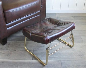 "Mid Century Pearl Wick Leg Lounger Adjustable Ottoman, Footrest, Hassock ""Brown Naughahyde"