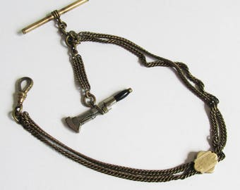 Antique Pocket Watch Chain - Fob with Plumber's Wrench Charm, Tradesman Pocket Watch Chain