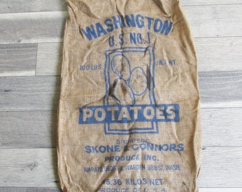 Vintage Washington State Potato Sack, Gunney Sack, Burlap Bag with Potato Graphics