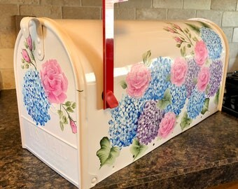 Hand painted mailbox, hydrangea mailbox, custom mailbox, flower mailbox, artist mailbox pink rose painted mailbox purple mailbox, roses,blue