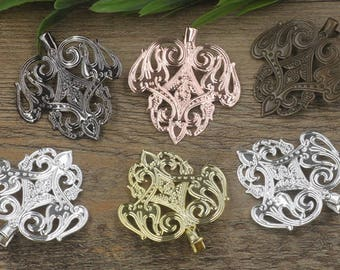 10 Brass Alligator Hair Clips W/ 45x50mm Filigree Floral Antique Bronze/ Silver/ Gold/ Rose Gold/ White Gold/ Gun-Metal Plated- Z7301