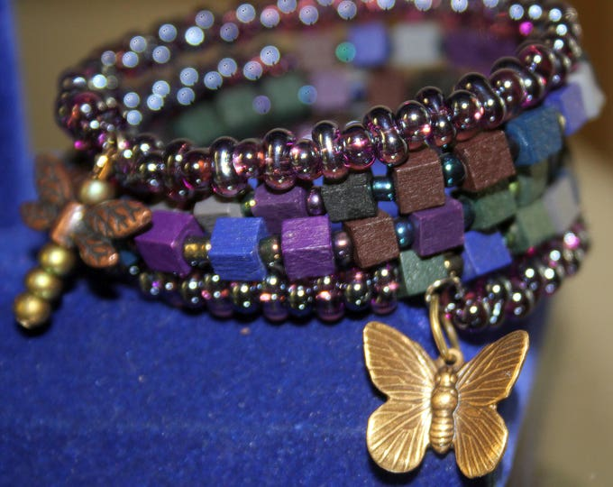Wrist Wrap Cuff Bracelet with Wood and Czech Glass Beads