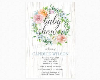 Boho Wreath Floral Baby Shower Invitation, Boho Chic Baby Shower Invitation, Printable or Printed