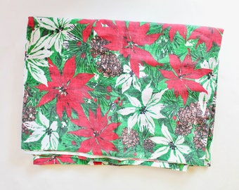 Vintage 1950s/1960s Poinsettia and Pinecone Pattern Christmas Tablecloth - Rectangular 54 X 70 Inch