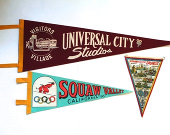Vintage 1950's-60's Lot of 3 Souvenir Wall Pennants! Universal Studios, Squaw Valley and Germany!