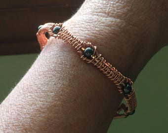 Copper Wire Bracelet with Hematite Beads, Handmade