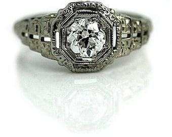 Art Deco Engagement Ring Antique Engagement Ring Old .65ctw European Cut Diamond Filigree Solitaire 18kt WG Vintage Diamond Wedding Ring!