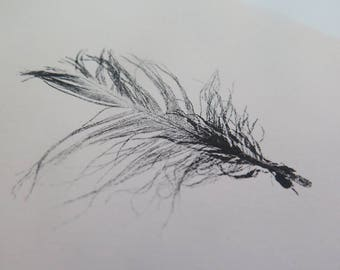 Small original  ooak feather monoprint modern organic and minimal on cream paper by Stef Mitchell