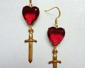 4th of JULY SALE My Bloody Valentine // Sparkling Vintage Ruby Red Heart & Dagger Drop Earrings, 1950s Heart Gems, Vintage Brass, Gothic Ret