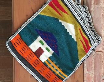 Vintage Mountain House Woven Purse / Handmade Purse / Cross-body Bag / Vintage Purse / Colorful Purse / Mountain Design Purse