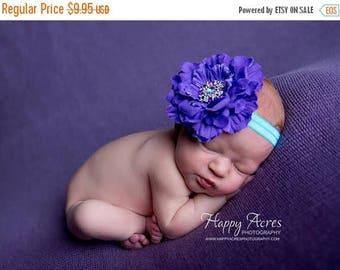 ON SALE Purple and Turquoise headband, baby headband, newborn headband, purple headband, newborn photography prop