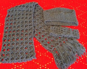 3 Piece Crocheted  Scarf and headband Set