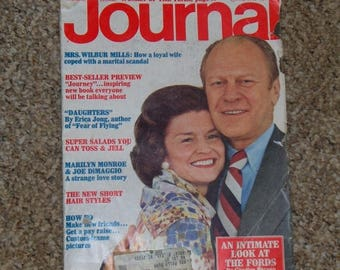 Vintage LADIES HOME JOURNAL Magazine 1975 with the Fords , Marilyn Monroe, Joe DiMaggio, women of the year edition