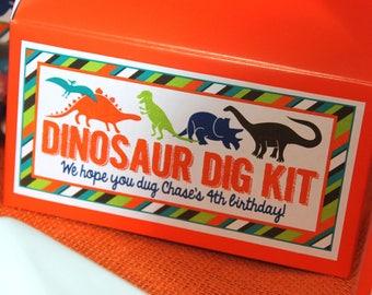 Dinosaur favor box, dinosaur birthday favor box, dinosaur party favor box, dinosaur dig kit, trex treats, dinosaur party treat, goodie bag