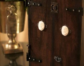 ALTAR -Wine Box Cabinet COMMISSION by Fae Factory Spiritual Artist Dr Franky Dolan {Sacred Shrine Altar Protection Prayer Wood Handmade Art}