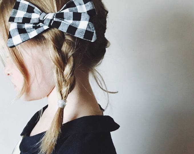 Featured listing image: Oversize Fall Bow in Black Check, Haunted Mansion Schoolgirl Bow, Halloween Hair Bows, giddyupandgrow
