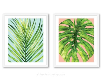 Palm Leaf Print  - Monstera Leaf Print - Tropical Leaf Wall Art - Monstera Wall Art - Tropical Wall Art - Tropical Decor - Set of 2 prints