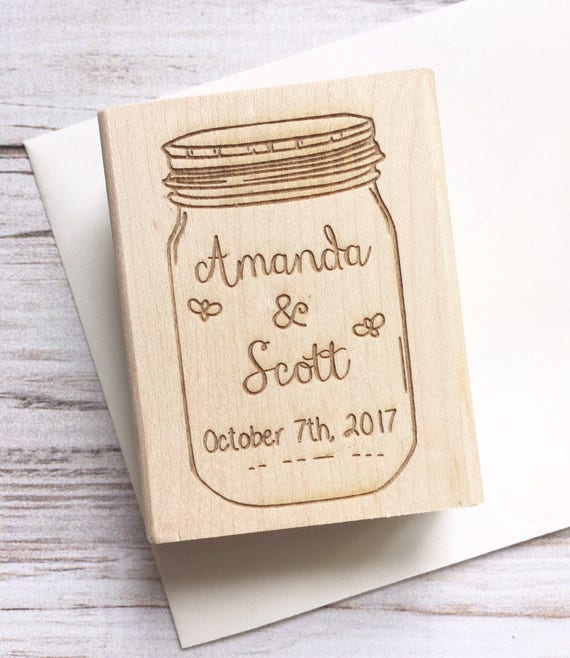 Mason Jar Stamp Save the Date Wedding Fireflies - Custom Rubber Stamp Names Date