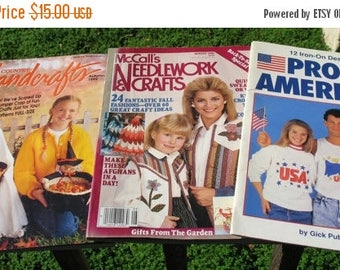 SET OF 3  Vintage Craft Magazines And Iron-On Patterns 103 Different Designs And Patterns From 1985-1992