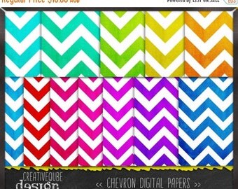 90% OFF Sale Digital paper, Digital Scrapbook paper pack - Instant download - 12 Digital Papers - Chevron