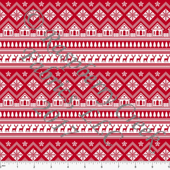 Red and White Nordic Fair Isle Stripe 4 Way Stretch Jersey Knit ...