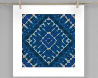 Indigo Shibori Tile Print Moroccan Wall Art  5X5 8X8 12X12 Matting Options