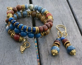 Gold and Coral - Memory Wire Bracelet and Matching Earrings