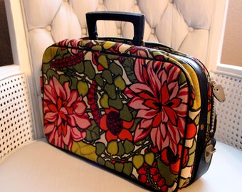 Floral Canvas Suitcase Vintage 70's Mustard Pink Green Tone Overnight Child Luggage