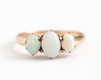 Antique Opal Ring - 10k Rosy Yellow Gold Band - Vintage Size 6 Edwardian Early 1900s Gemstone Fine Three Stone Play of Color Jewelry
