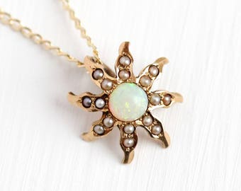 Opal Starburst Pendant - Antique 14k Rosy Yellow Gold Seed Pearl Necklace - Vintage Edwardian 1900s Fine Sun Star Motif Dainty Charm Jewelry