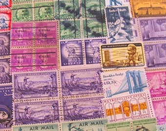 Old New York 100 Vintage NYC Postage Stamps Big Apple Brooklyn Queens Manhattan Bronx Harlem Staten Island Immigrant 5 Boroughs NY Philately