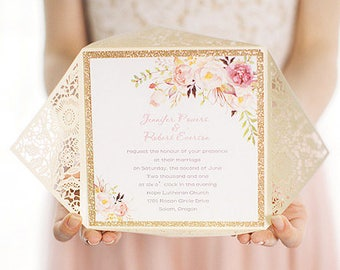 Romantic wedding invitations, gold laser cut wedding invitation, Lace Wedding Invitation, gold wedding invitation, wedding invitation