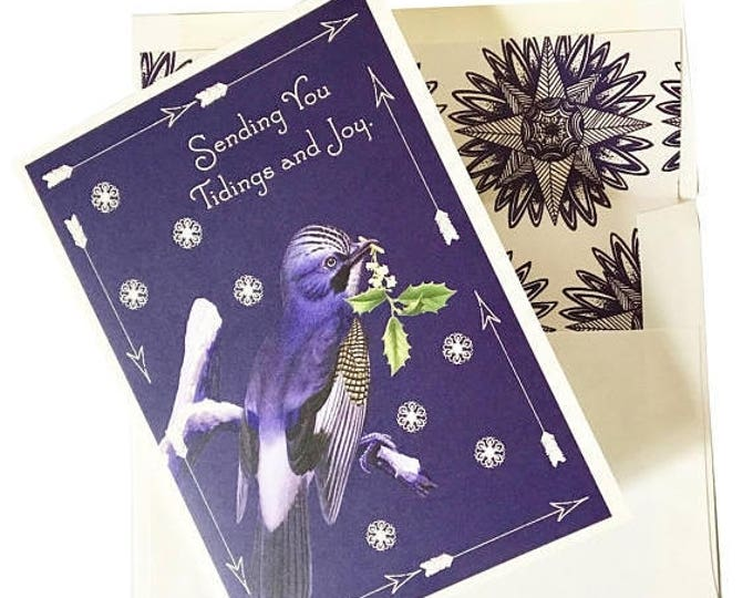 """BLACK FRIDAY SALE Christmas Greeting Card """"Blue bird"""" Snowflakes Scented in Fir Tree Holly"""