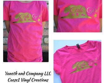 Cali Girl T-shirt,Cali Girl Bear T-shirt,Hot Pink and Gold California Girl T-shirt,Sample Sale Cali Girl,Hot pink Cali girl with gold
