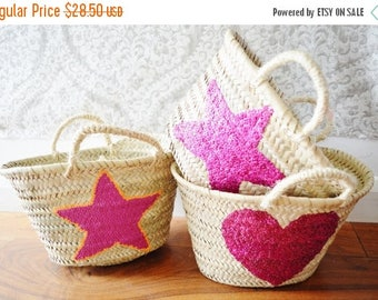 10% OFF Summer SALE // February Trend- Kids Basket Panier -great for Storage, nursery, beach, picnic, holiday, Marrakech Basket Bag
