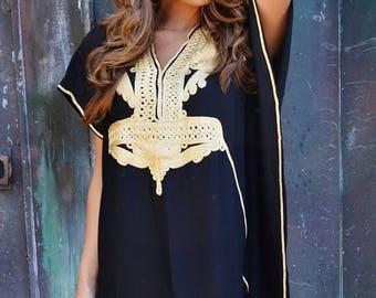 SUMMER 10% OFF // TREND Finds | Black & Gold Marrakech Resort Caftan Kaftan-beach cover up,resortwear,loungewear,maxi dresses, birthdays, ho