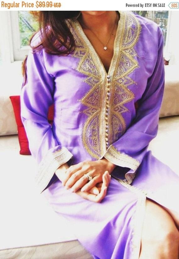 25% OFF Autumn Sale// Kaftan Lilac  Moroccan Caftan Kaftan - Lella-Perfect as loungewear,resortwear, beach cover ups, Honeymoon or Maternity