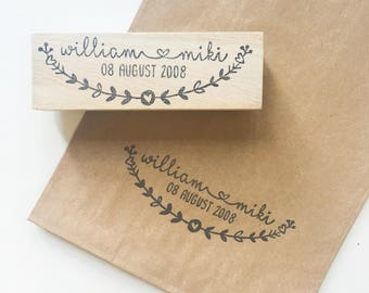 Save-the-date couple name wedding stamp stamp / floral/ hand carved/ handmade/ carve/ garden themed/ wedding essentials/ wedding stamp/ love