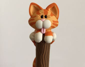 Polymer Clay Red Tabby Cat Ballpoint Pen