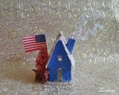 4th of July Glitter House, Dachshund, Bottle Brush Tree, Vintage Red White Blue, Patriotic Decoration, Dog, American Flag RESERVED For Diane