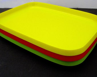 Heller Style Mod Pop Art Stacking Trays - Set of 3 OBLIQUE  Trays Plates   Melamine Dish Set