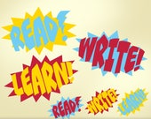 Superhero Classroom Decor Vinyl Wall Decals: Read Write Learn Teacher Decorations, Comic Book Sound Effect Bursts Removable Decals (0177a)