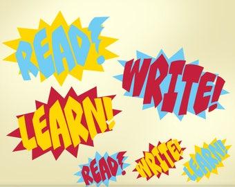 Superhero Classroom Decor Vinyl Wall Decals: Read Write Learn Teacher Decorations, Comic Book Sound Effect Bursts Removable Decals (0177a)