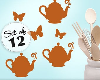 Mini Wall Decal Butterflies & Teapot Decals, Kitchen Decor Decals, Butterfly Wall Decals, Teapot Wall Decals, Cabinet Decals (0178a)