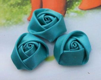 30 small Satin flowers, handmade ribbon flowers, satin fabric flowers, satin rose, Tornado Blue Satin fabric Roses, flower cabochons 20x12mm