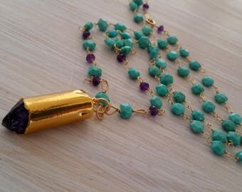 Long sleeping beauty turquoise & amethyst bullet beaded necklace