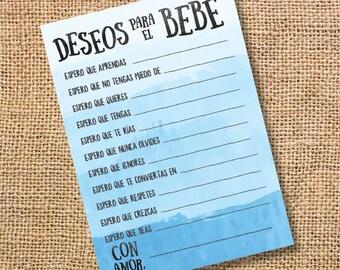 Deseos para el bebé Baby Shower niño Azul Celeste Wishes for Baby Ombre Blue Spanish Archivo para Imprimir Juego INSTANT DOWNLOAD