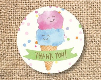 Ice Cream Birthday Favor Tags Printable Boy Girl Ice Cream Baby Shower Pink Blue Twins Thank You Tag Pool Party Summer INSTANT DOWNLOAD