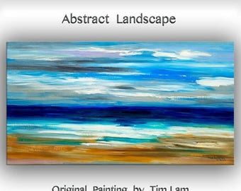 "sale Huge original modern art Abstract Painting Modern Impasto Texture canvas by Tim Lam 48"" x 24"""